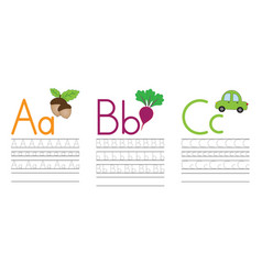Writing practice letters abc education for kids vector