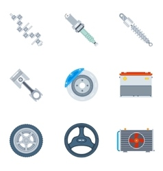 Car spare parts flat icons vector image