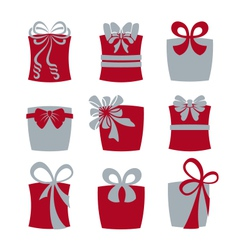 Gift boxes with bows vector image vector image