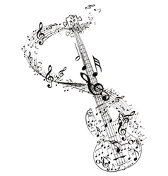 Guitar and Music Notes4 vector image vector image