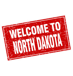 north dakota red square grunge welcome to stamp vector image