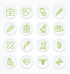 round green medical icons vector image