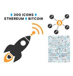 space rocket radio translation flat icon with vector image