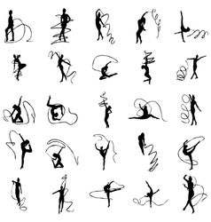 Art gymnastics silhouettes set vector image