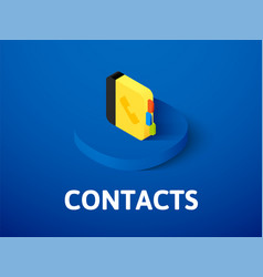contacts isometric icon isolated on color vector image
