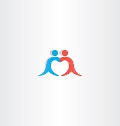 couple boy and girl heart love logo icon vector image