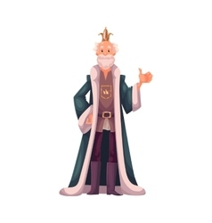 king in crown and mantles happy vector image