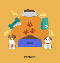 puppy feeding flat composition vector image vector image