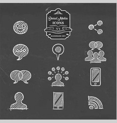 social media hand drawn doodle internet icon set vector image