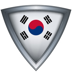 steel shield with flag korea vector image vector image