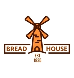 Bakery and pastry shop badge with vintage windmill vector image vector image