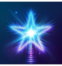 Blue shining star vector image vector image