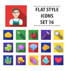 precious minerals and jeweler set icons in flat vector image vector image