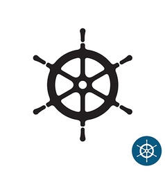 Ship helm black silhouette icon Yacht boat rudder vector image