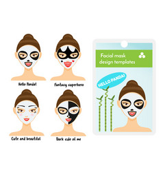 woman facial sheet masks design templates package vector image vector image
