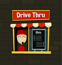 cartoon drive thru menu board fast food business vector image vector image