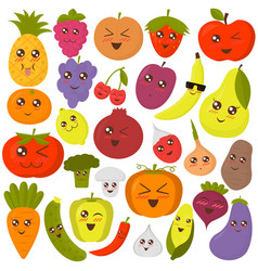 cute vegetables and fruits vector image vector image