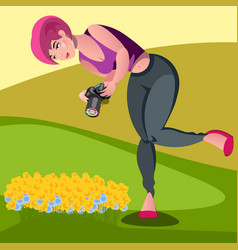 photographers take pictures of dandelion vector image vector image