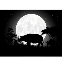 Rhino silhouettes with giant moon background vector image
