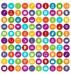 100 office icons set color vector