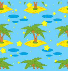 A seamless pattern of green palms on yellow sand vector