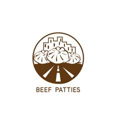 abstract beef patties urban restaurant design vector image
