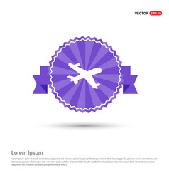 aeroplane icon - purple ribbon banner vector image