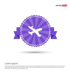 aeroplane icon - purple ribbon banner vector image