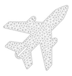 Airplane polygonal frame mesh vector