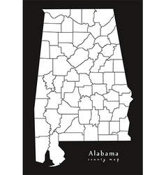 Alabama county map black vector image