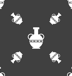 Amphora icon sign Seamless pattern on a gray vector image