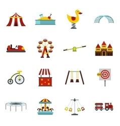 Amusement park icons set flat style vector