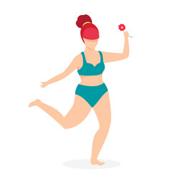 attractive plus size woman in swimwear dancing vector image