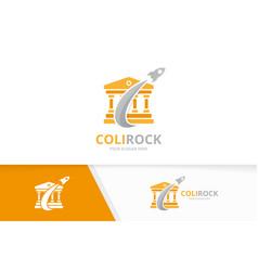 Bank and rocket logo combination column vector