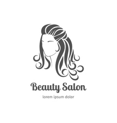 Beautiful girl silhouette with long wavy hair vector image