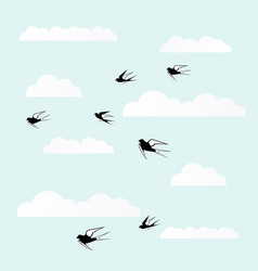 birds fly in the clouds vector image