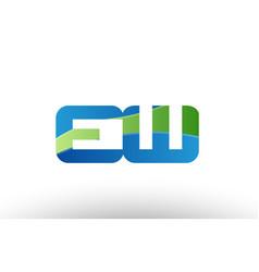 Blue green ew e w alphabet letter logo vector