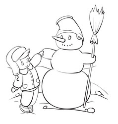 boy in winter clothes built a snowman out the vector image
