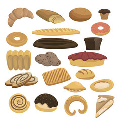 bread icons set for bakery shop collection of vector image