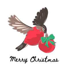Bullfinch christmas color vector