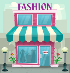 Cartoon fashion shop building purple woman hobby vector