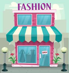cartoon fashion shop building purple woman hobby vector image