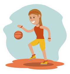 Cartoon girl playing basketball sport design vector