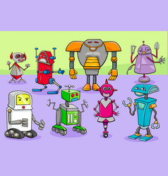 cartoon robot fantasy characters group vector image