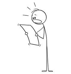 Cartoon shocked man or businessman reading vector