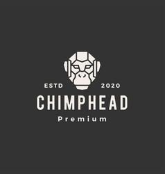 Chimp head hipster vintage logo icon vector