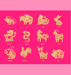 chinese new year zodiac signs papercut icons vector image