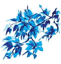 Chinese painting of flowers vector