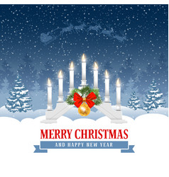 christmas greeting with candle lights bridge vector image