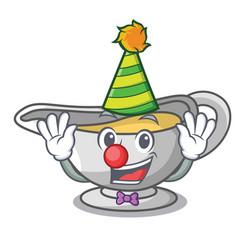 Clown cartoon sauce boat with cream sauce vector